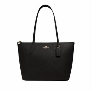Coach Zip Top Tote Shoulder Bag Black